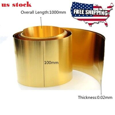 `Brass Metal Thin Sheet Foil Plate 0.02 x 100 x 1000 mm Handicraft Metalworking