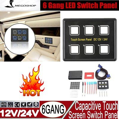 6 Gang LED Back Capacitive Touch Screen Marine Boat Caravan Switch Panel 12V NP