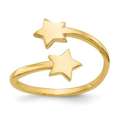 14k Yellow Gold Double Solid Stars Adjustable Toe Ring  0.79 gr
