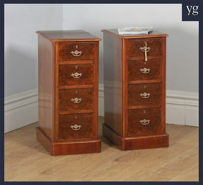 Antique Pair Two English Victorian Burr Walnut Bedside Chests Tables Nightstands