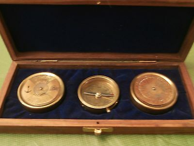 Reproduction Vtg Compass, Calendar & Time finder in Wooden Box - India
