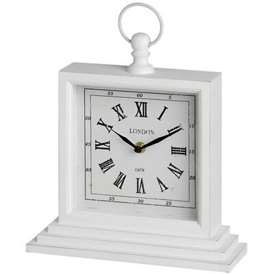 White Square London Table Clock - Mantel Distressed Vintage Very Unique Shabby