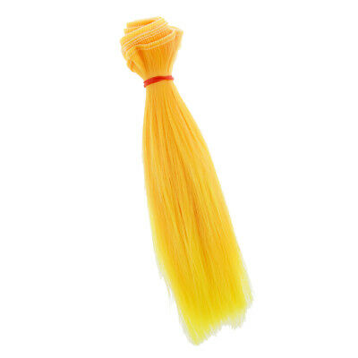 High-temperature Wire 15x100cm DIY Wig Straight Hair Doll Accessories Yellow