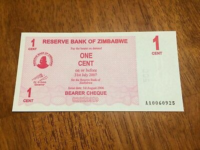 Zimbabwe banknote 1 Cent Bearer Check, 2006 P-33 Unc LOW SERIAL NUMBER