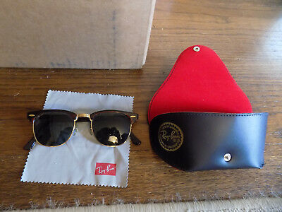 Vtg 80s B&L RAY BAN USA Clubmaster Oval TORTOISE Sunglasses BAUSCH & LOMB w case