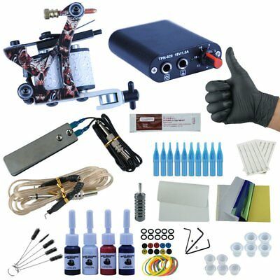 Complete Tattoo Starter Kit 2 Machine 7 Color Inks Gun Set Power Needle Tip CA