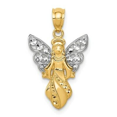 14k Yellow Gold Heart with Wings Pendant 17x23mm
