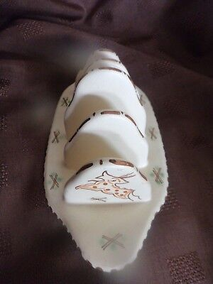 Honiton Pottery rare Woodland leaping deer toast rack collectable post Collard