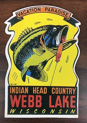 Vintage Bumper Sticker Travel Wisconsin Webb Lake Indian Head Country Souvenir