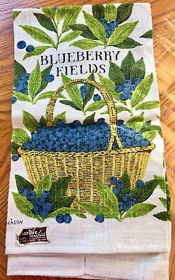 NOS Vtg Kitchen Towel MCM BLUEBERRY FIELDS by Sewell Jackson for KayDee Linen