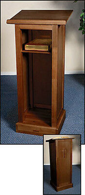 "Full Lectern with Shelf - Walnut Finish - 44 3/4"" High, 20 x 16"" Top, 16"" Square"