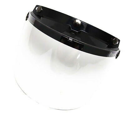 Universal 3 Snap Flip Up Open Face Motorcycle Helmet Visor Lens Shield Clear