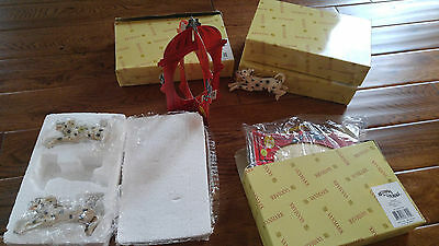 4 Boxes Vanmark Red Hats Of Courage Fire Hydrant & 3 Dalmatians Ornaments New