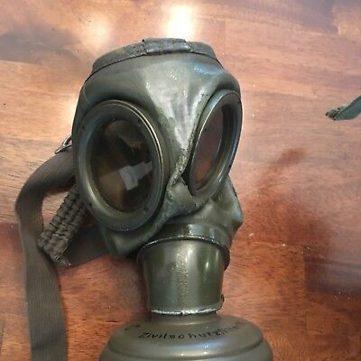 Vintage Post War German Gas Mask With Canister and Mess Kit