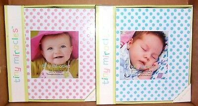 """NEW! Tiny Miracles Polka Dot Baby Picture Frame 5"""" x 5"""" / PINK or BLUE"""