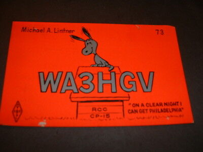 SNOOPY in FRAMINGHAM, MASS.- MIKE LINTNER- WA3HGV- 1969- QSL