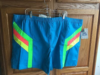 OVERBOARD men's 3XL 48-50 turquoise swim suit trunk shorts VTG 1980s NOS NWT NEW