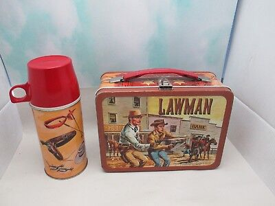 Vintage Well Used LAWMAN Metal Lunch Box W/ Nice Thermos
