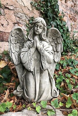 Praying Angel stone garden ornament kneeling detailed beautiful statue grave
