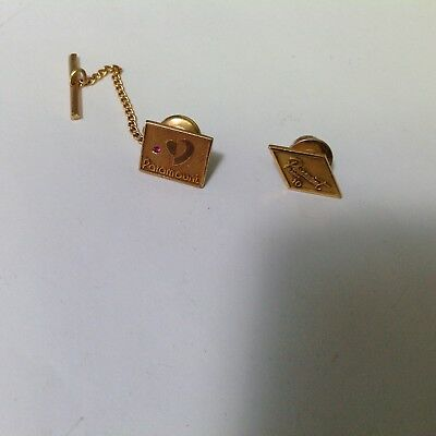 2 Vintage Paramount Tie Tack & Pin 10K Gold Filled With Ruby Chip