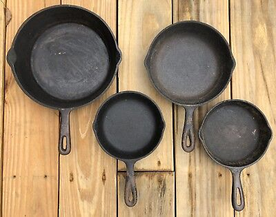 Lot of 4 Vintage Cast Iron Pans USA Fire Ring Cooking Skillets