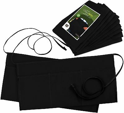 Utopia Wear 3 Pockets Waist Apron (Set of 12, Black, 24 x 12 inches) -