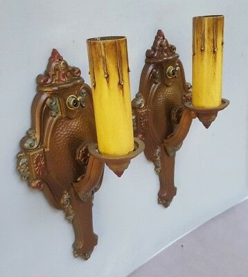 Edward Riddle Antique Art Deco Sconces, 1920's - 1930's, Cast Aluminum, Rewired