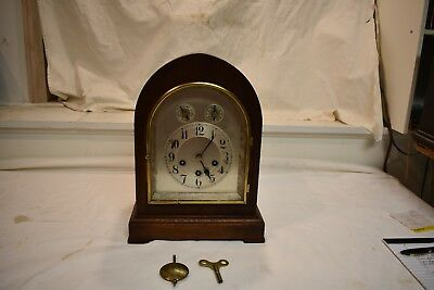 Antique German Junghans Westminster Chime Library Clock Circa 1910