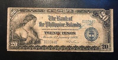 Rare 1928 Philippines 20 Pesos P.18 only 40,000 ever printed