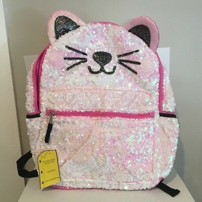 "Kitty 2-Way Sequins Critter Backpack 16"" School Book Bag Tote Full Size NWT"