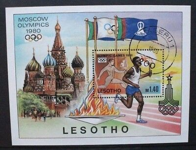 LESOTHO 1980 Moscow Olympic Games. SOUVENIR SHEET. USED. SGMS397.