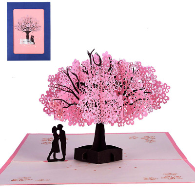 3D Pop Up Handmade Cherry Blossom Greeting Cards Romantic for Valentine NEW HOT
