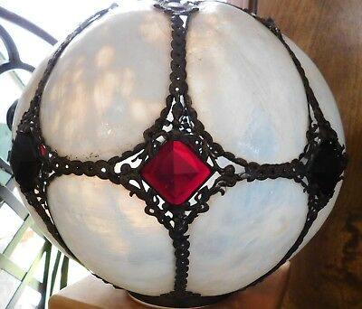 Antique Banquet Round Ball  Lamp Shade Glass With Jewels And Metal Accents