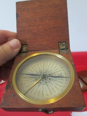Antique  FRENCH ???   POCKET COMPASS   w/ WOOD CASE  #3