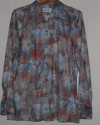 Vintage 70s Spire Disco Shirt  Mens Blue Maroon Gray Psychedelic M LS Button