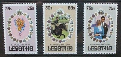LESOTHO 1981 Royal Wedding. Set of 3. Mint Never Hinged. SG451/453.