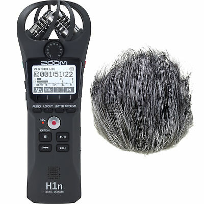 Zoom H1n Handy Portable Digital Recorder w/ Movo Furry Outdoor Windshield