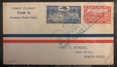 1929 St Domingo Dominican Rep first flight cover FFC To San Juan Puerto Rico