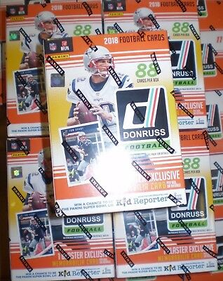 (5) 2018 Donruss Football NFL Trading Cards New 88ct. Retail Blaster Box LOT