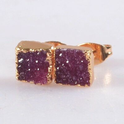 7mm Square Hot Pink Agate Druzy Geode Stud Earrings Gold Plated B056379