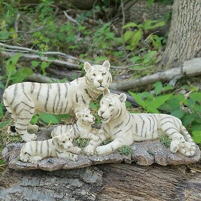 White Tiger Figurine- Siberian Bengal Tiger Family- Resin Cubs- Large