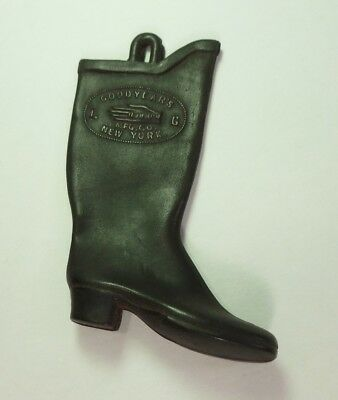 SALESMAN SAMPLE old GOODYEAR RUBBER BOOT heeled RIGHT FOOT New York MINIATURE