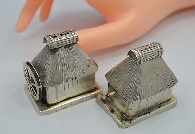 Vintage 950 Silver WINDMILL HOUSE Salt/Pepper Shakers