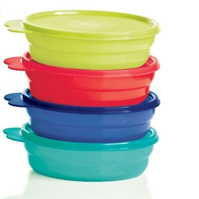 NEW tupperware Microwaveable cereal bowl set 4 Blue/Parrotfish/Emberglo/green