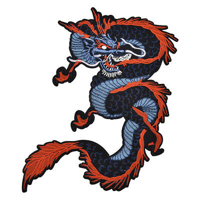 Chinese Dragon Cloth Patch Embroidered Motifs Applique Iron On Badge DIY Craft