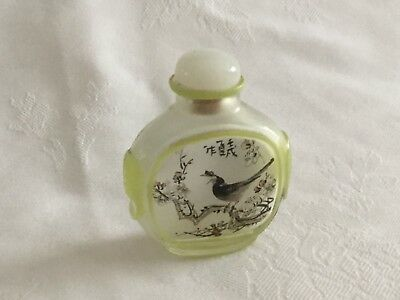 Antique Chinese Snuff Bottle and Stopper. Reverse Painted