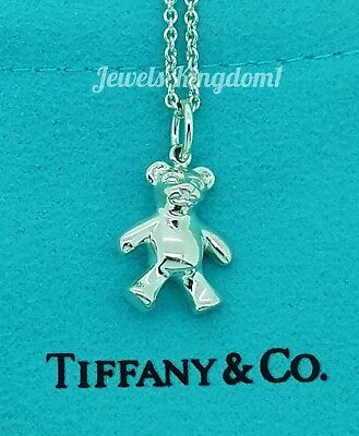 """Tiffany & Co. Sterling Silver Teddy Bear Charm with 16"""" Chain"""
