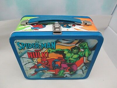 Vtg Metal Captain America Spider-Man & Hulk Lunch Box W/ Thermos By Aladdin