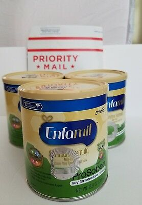 Lot of (3) Three cans Enfamil ProSobee Soy Powder Formula 12.9oz cans Exp 2019
