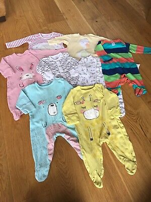 Baby Girls Sleepsuit Bundle 0-3 Months Next Miniclub Mothercare